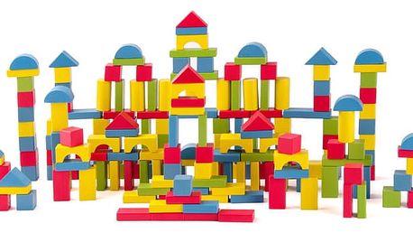 WOODY Stavebnice kostky přírodní/barevné, 200 ks