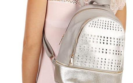 Koženkový batoh s perforováním šedá
