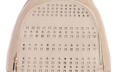 Koženkový batoh s perforováním béžová