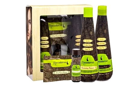 Macadamia Professional Rejuvenating šampon dárková sada W - šampon Rejuvenating Shampoo 300 ml + maska Deep Repair Masque 30 ml + olej Healing Oil Treatment 30 ml + kondicionér Moisturizing Rinse 300 ml