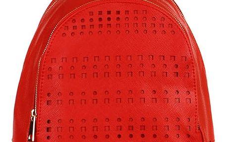 Koženkový batoh s perforováním červená