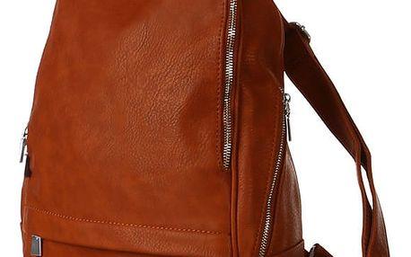 Klasický hladký batoh se zipy khaki