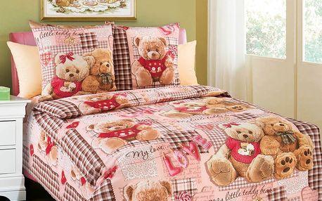 Bavlněné dětské povlečení Plyšoví medvídci-růžový 140x200 jednolůžko - standard