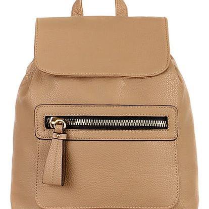 Koženkový batoh s výrazným zipem khaki