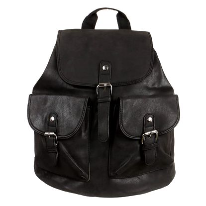 Koženkový batoh s kapsami černá