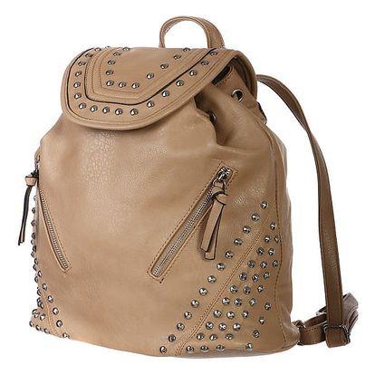 Velký batoh s ozdobnými cvočky a zipy béžová