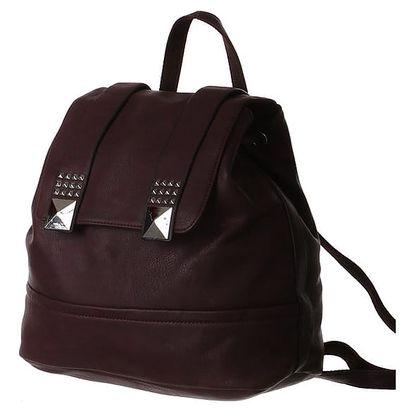 Prostorný batoh se stříbrnými pyramidami fialová