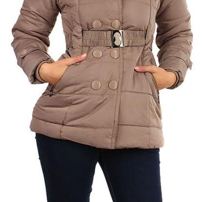 Dámská zimní bunda - i pro plnoštíhlé světle hnědá