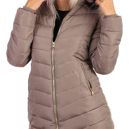 Dlouhá zimní bunda s kožíškem - i pro plnoštíhlé hnědá