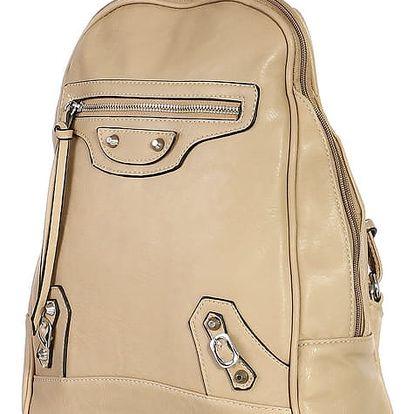 Malý koženkový batoh s přední kapsou šedá