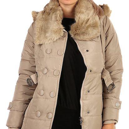 Zimní bunda s kožešinovým límcem - i pro plnoštíhlé béžová
