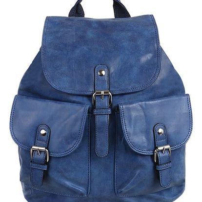 Koženkový batoh s kapsami modrá
