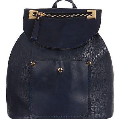 Koženkový retro batoh modrá