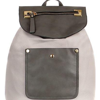 Koženkový retro batoh šedá
