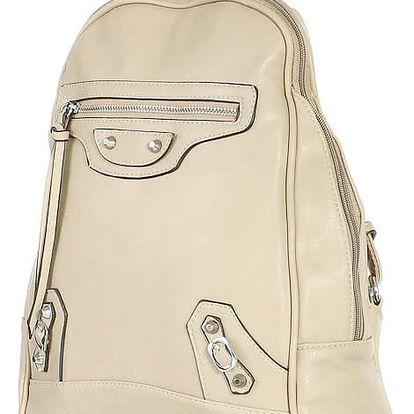 Malý koženkový batoh s přední kapsou béžová