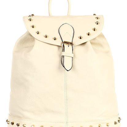 Koženkový batoh se zlatými cvočky béžová