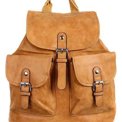 Koženkový batoh s kapsami žlutá