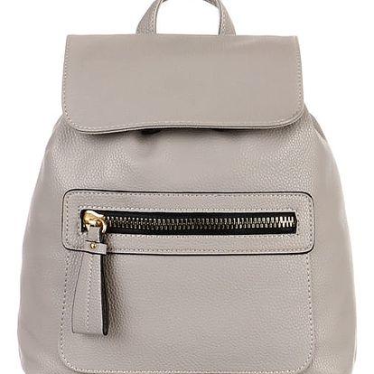 Koženkový batoh s výrazným zipem šedá