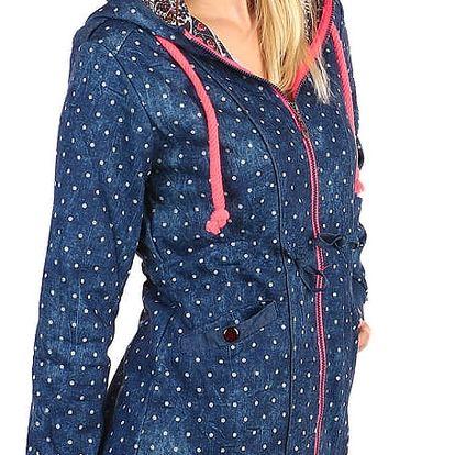 Lehká mikinová bunda s puntíky i pro plnoštíhlé