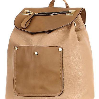 Koženkový retro batoh béžová