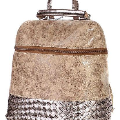 Malá lesklá kabelka/batoh 2v1 béžová