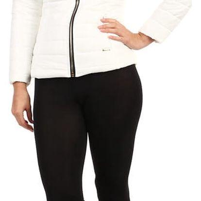 Krátká lesklá bunda s kožíškem bílá