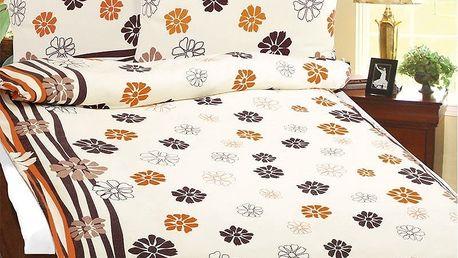 Bellatex Povlečení flanel Oranžové květy , 140 x 200 cm, 70 x 90 cm