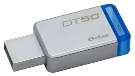 USB Flash Kingston DataTraveler 50 64GB (DT50/64GB) modrý/kovový