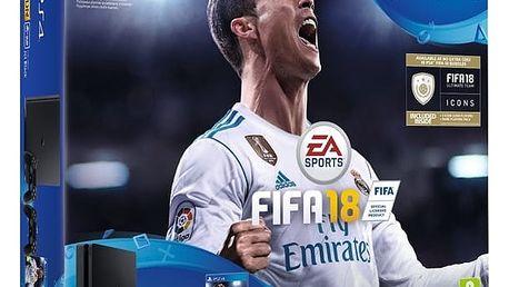 Herní konzole Sony SLIM 1TB + DS4 černý + FIFA18 + PS Plus 14 dní (PS719915867) černá + DOPRAVA ZDARMA