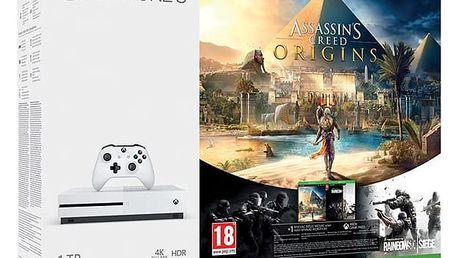 Herní konzole Microsoft 1 TB + Assassin's Creed: Origins + Rainbow Six: Siege; 14 denní Xbox LIVE GOLD 1 měsíční Xbox Game P (234-00235) + DOPRAVA ZDARMA