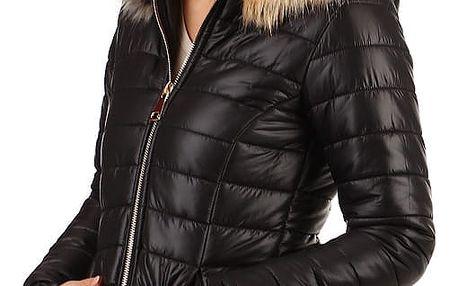 Dámská lesklá bunda s kožíškem černá