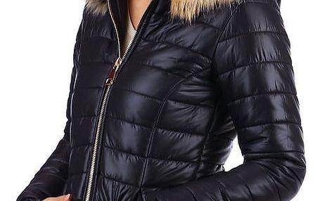 Prošívaná bunda s kožíškem - i pro plnoštíhlé tmavě modrá