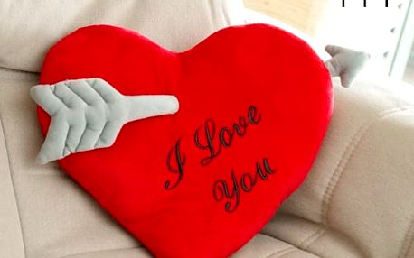 Polštář ve Tvaru Srdce Probodnutaého Šípem I Love You Wagon Trend 35 cm