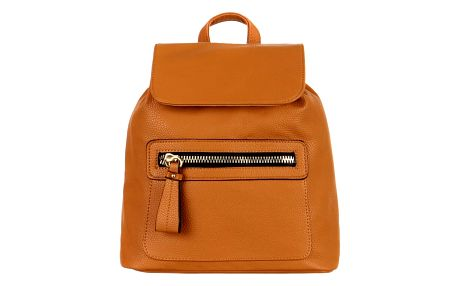 Koženkový batoh s výrazným zipem hnědá