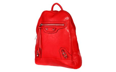 Malý koženkový batoh s přední kapsou červená