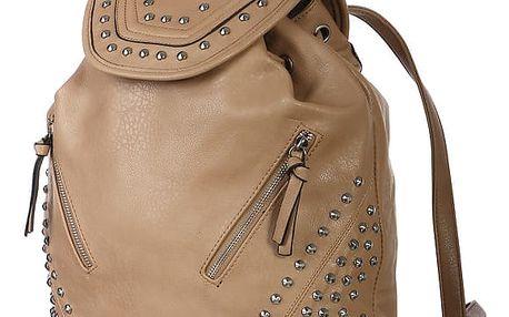 Velký batoh s ozdobnými cvočky a zipy hnědá