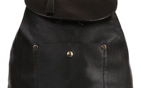 Koženkový retro batoh černá