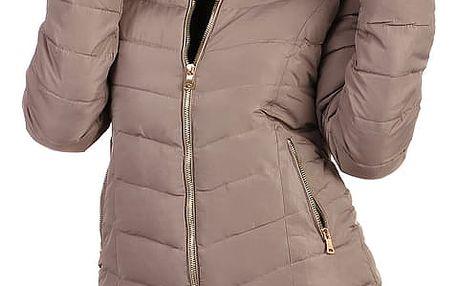 Zimní bunda zateplená kožíškem i pro plnoštíhlé hnědá