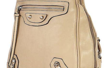Malý koženkový batoh s přední kapsou khaki