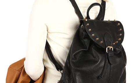 Koženkový batoh se zlatými cvočky tmavě béžová