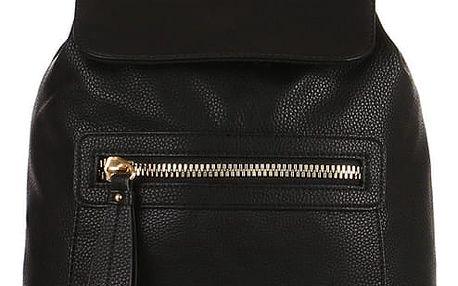 Koženkový batoh s výrazným zipem černá