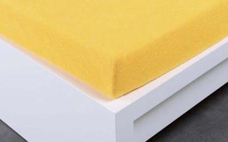 XPOSE ® Froté prostěradlo dvoulůžko - žlutá 180x200 cm