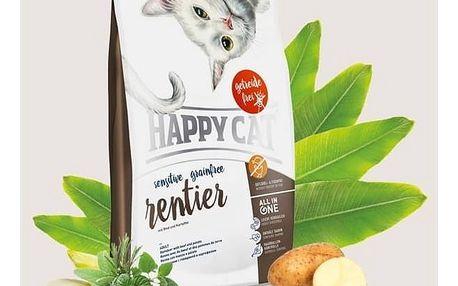 Granule HAPPY CAT SENSITIVE Grainfree Rentier - Sob 4 kg