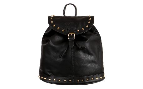Koženkový batoh se zlatými cvočky černá