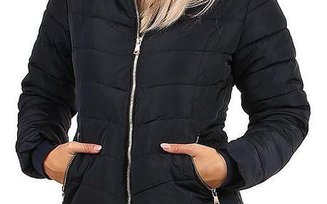 Zimní bunda zateplená kožíškem i pro plnoštíhlé tmavě modrá