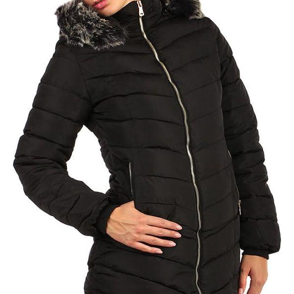 Dámská bunda s kožíškem- i pro plnoštíhlé černá