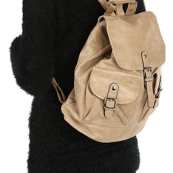 Koženkový batoh s kapsami khaki
