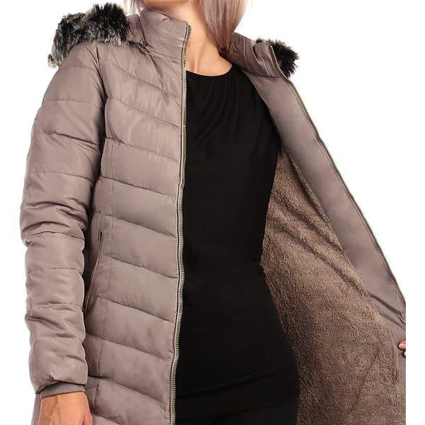Zimní bunda zateplená kožíškem i pro plnoštíhlé tmavě modrá5