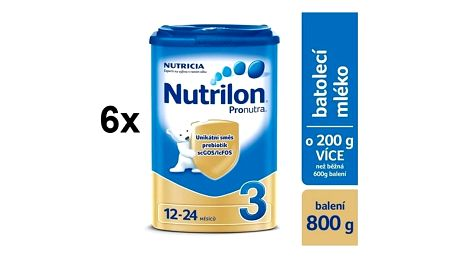 Kojenecké mléko Nutrilon 3 Pronutra, 800g x 6ks + 2x DÁREK + Doprava zdarma