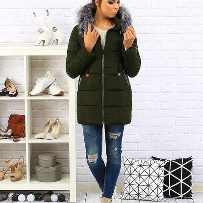 Olivová dámská zimní prošívaná bunda s kapucí (ty0092) Barva: Olivová, Velikost: M